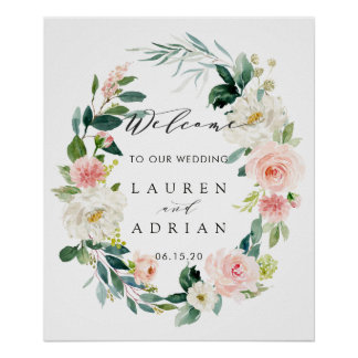 Spring Blush Floral Wreath Wedding Welcome Sign