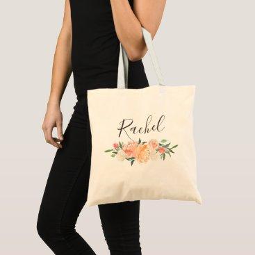 Bride Themed Spring Blush Peach Sage Watercolor Floral Garland Tote Bag
