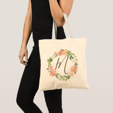 Wedding Themed Spring Blush Peach Sage Watercolor Floral Monogram Tote Bag