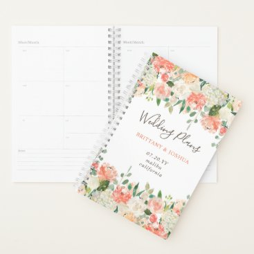 Bride Themed Spring Blush Peach Sage Watercolor Floral Wedding Planner