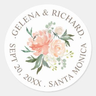 Spring Blush Peach Watercolor Bouquet Wedding Classic Round Sticker