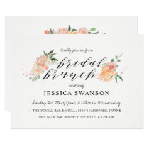 Spring Blush Peach Watercolor Floral Bridal Brunch Card