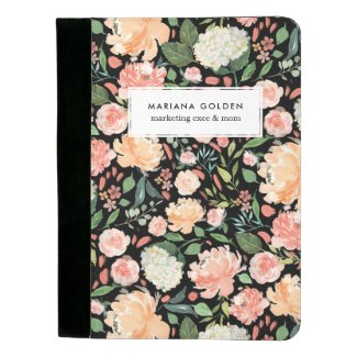 Spring Blush Peach Watercolor Floral Personalized Padfolio