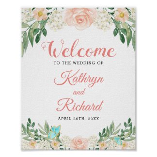 Spring Blush Peach Watercolor Floral Wedding Sign