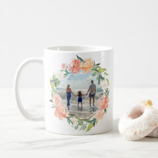 Spring Blush Peach Watercolor Floral Wreath Photo Coffee Mug