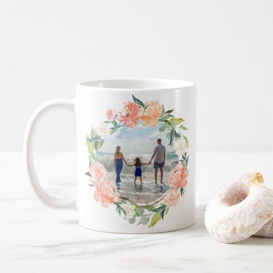 Spring Blush Peach Watercolor Floral Wreath Photo Coffee Mug