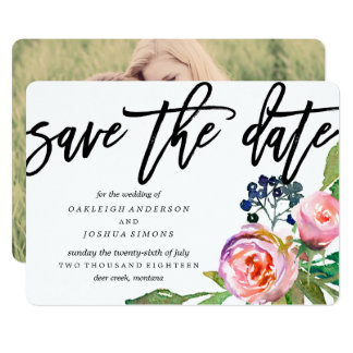 Spring Bohemian Bouquet Save the Date Photo Card