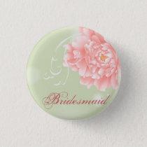 Spring Botanical mint pink peony bridesmaid Pinback Button
