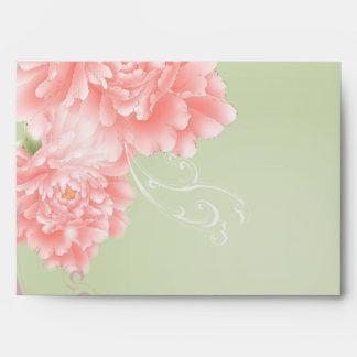 Spring Botanical mint pink peony wedding Envelope