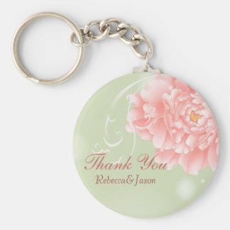 Spring Botanical mint pink peony wedding favor Basic Round Button Keychain