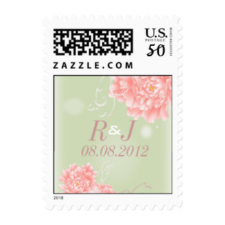 Spring Botanical mint pink peony wedding Postage