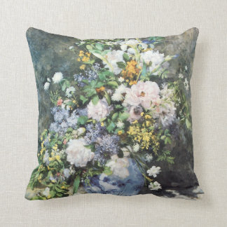 Spring Bouquet by Pierre Renoir, Vintage Flowers Throw Pillow