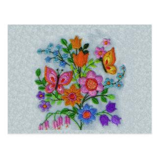Spring Bouquet Flowers Butterflies Postcard
