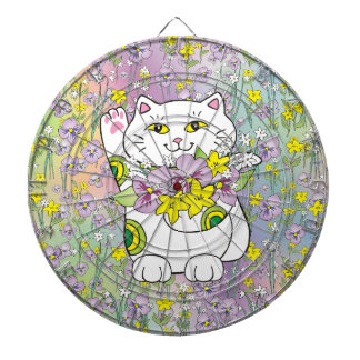 Spring Bouquet Maneki Neko (Lucky Cat) Dartboard With Darts