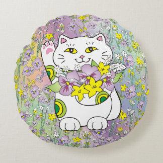 Spring Bouquet Maneki Neko (Lucky Cat) Round Pillow
