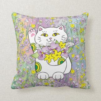Spring Bouquet Maneki Neko (Lucky Cat) Pillow