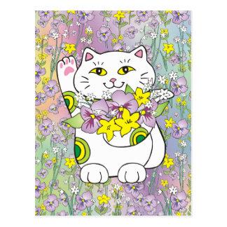 Spring Bouquet Maneki Neko (Lucky Cat) Postcard