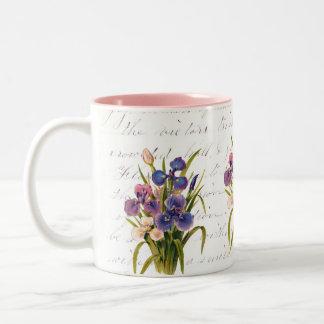 Spring Bouquet of Irises - Celebration of Flowers Two-Tone Coffee Mug
