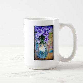 Spring bouquet of purple flowers mug. classic white coffee mug