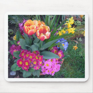 Spring Bouquet: primrose, tulips, narcissus Mouse Pad