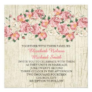 Spring Bouquet Wood Wedding Invite