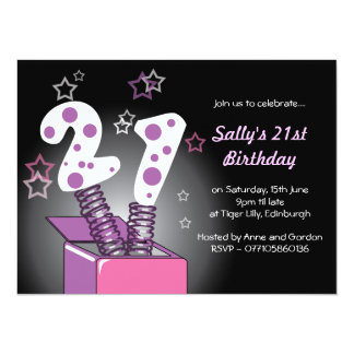 Spring Box 21st Birthday Party - pink & purple Card
