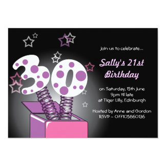 Spring Box 30th Birthday Party - pink & purple Card