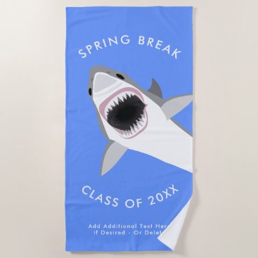 Beach Themed Spring Break Custom Vacation Shark Attack Beach Towel