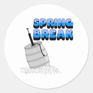 spring break keg classic round sticker