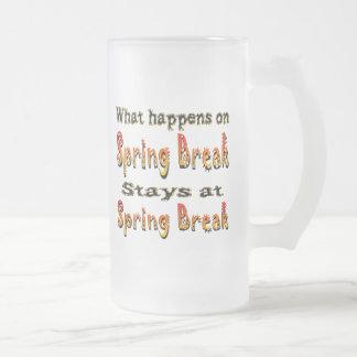 Spring Break What Happens 16 Oz Frosted Glass Beer Mug