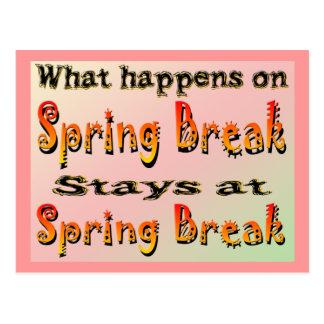 Spring Break What Happens Postcard