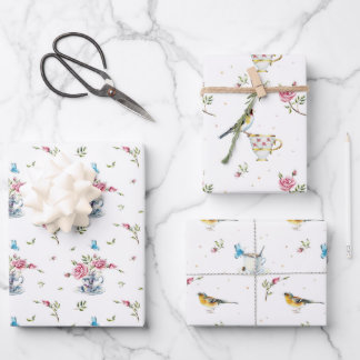 Spring Bridal Mother's Day Watercolor Birds Wrappi Wrapping Paper Sheets