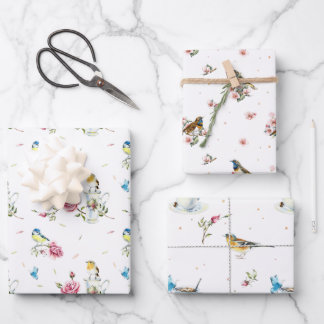 Spring Bridal Mother's Day Watercolor Birds Wrapping Paper Sheets