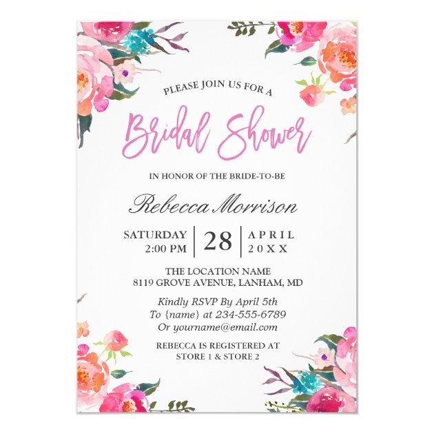 Spring Bridal Shower | Watercolor Botanical Floral Card (back side)