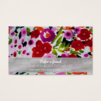 Spring Bright Flowers Floral Refer a Friend Business Card