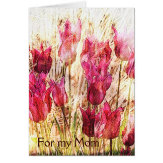 Spring bright pink tulips card