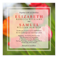 Spring Bright Red Tulips Green Wedding Invitation