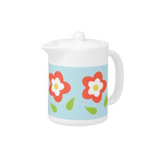 Spring Bubble Flowers (on Blue) Teapot