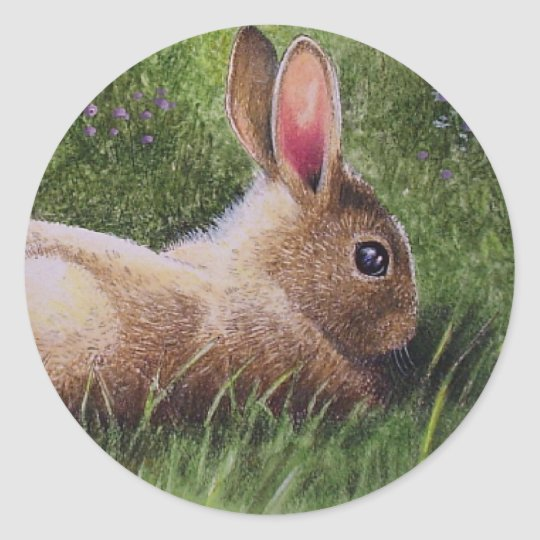 Spring Bunny Classic Round Sticker