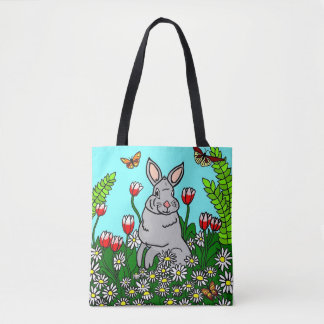 Spring Bunny Garden Tote Bag