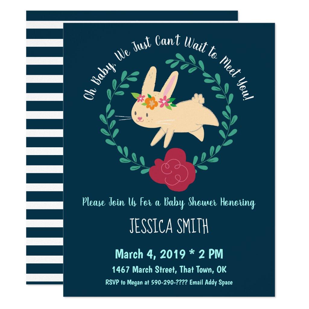 Spring Bunny Navy Blue Baby Shower Invitation