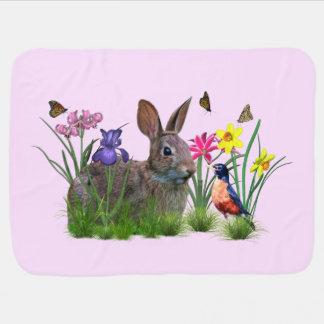 Spring, Bunny Rabbit, Flowers, Butterflies Receiving Blanket