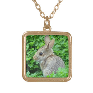 Spring Bunny Square Pendant Necklace
