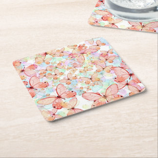 Spring Butterflies Square Paper Coaster