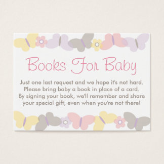 Spring Butterfly Baby Shower Book Request Cards