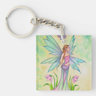 Spring Butterfly Fairy Fantasy Art Double-Sided Square Acrylic Keychain