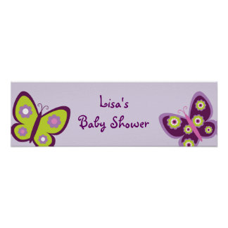 Spring Butterfly Flower Birthday Banner Sign