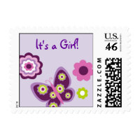 Spring Butterfly Flower Girl Postage Stamps