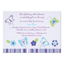 Spring Butterfly Garden Baby Shower Invitations