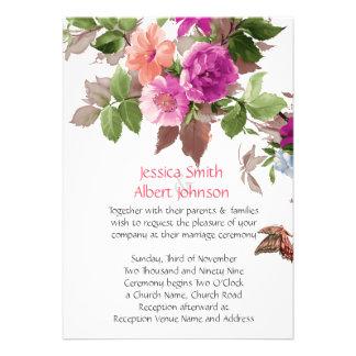 Spring Butterfly Garden Flowers Wedding Invite
